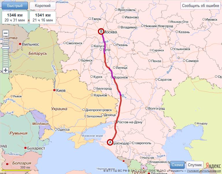 Карта маршрута Краснодар -
